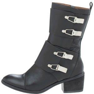 Donald J. Pliner Dorria black leather buckle boots